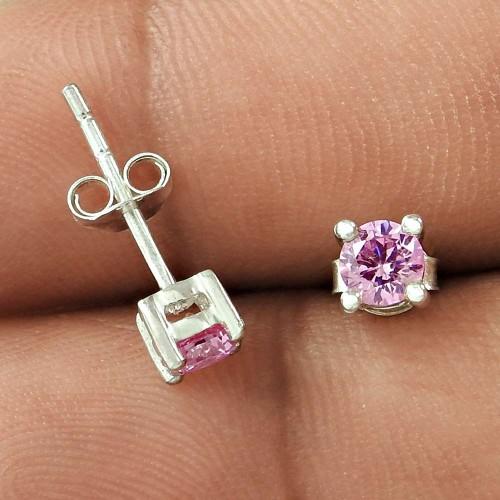 Circle of Hope Pink CZ Gemstone Sterling Silver Stud Earrings Jewellery Fabricant