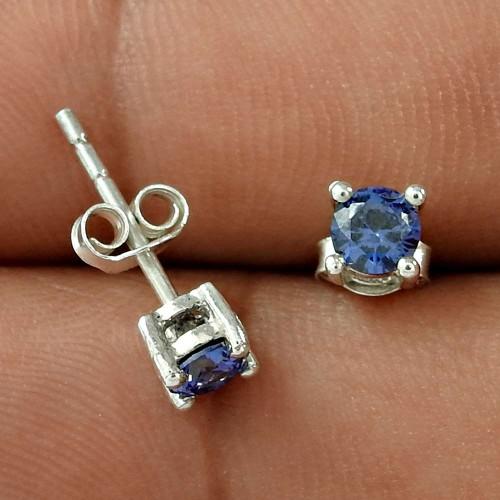Modern Style Dark Blue CZ Gemstone Sterling Silver Stud Earrings Jewellery Exporter