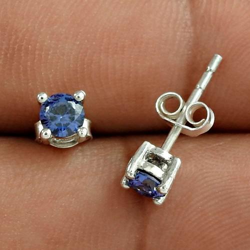 Rava Work Dark Blue CZ Gemstone Sterling Silver Stud Earrings Jewellery Wholesaling