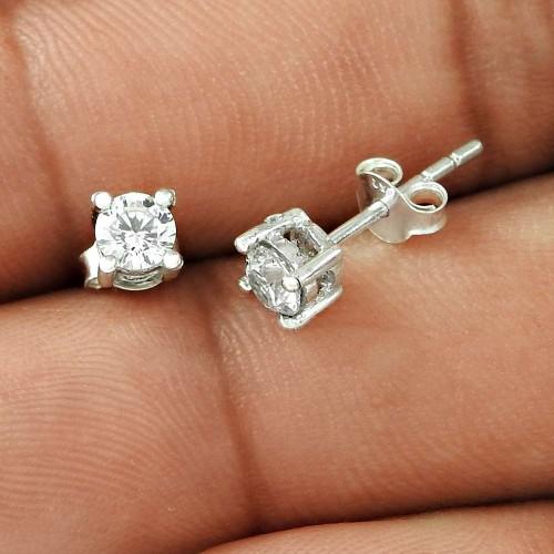 Classic Design White CZ Gemstone Sterling Silver Stud Earrings Jewellery De gros