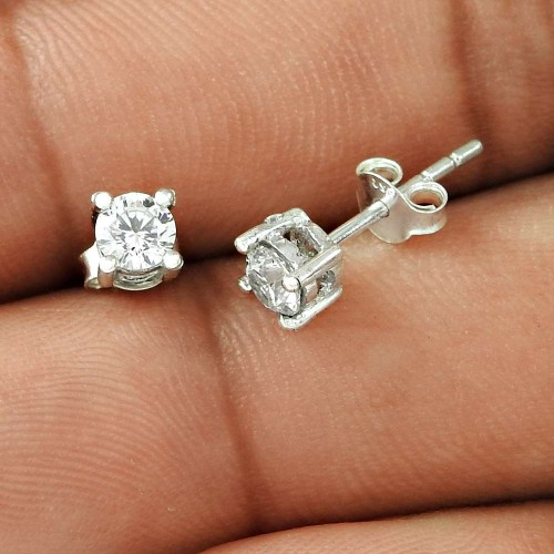 Placid White CZ Gemstone Sterling Silver Stud Earrings Jewellery Hersteller