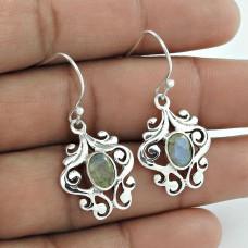 Large Fashion Labradorite Gemstone 925 Sterling Silver Earrings Großhändler