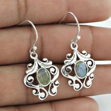 Skin Friendly Labradorite Gemstone 925 Sterling Silver Earrings Wholesale