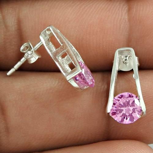 Falling In Love !! Pink CZ Gemstone 925 Sterling Silver Studs Wholesale