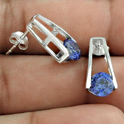 Bloom Fashion !! Swiss Blue CZ Gemstone 925 Sterling Silver Studs Wholesaler