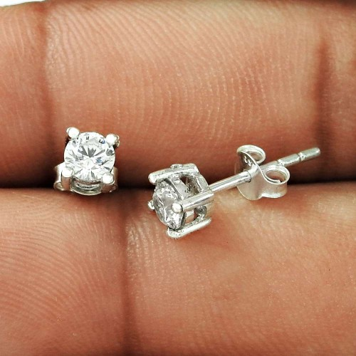Enjoyable !! White CZ Gemstone 925 Sterling Silver Studs Exporter