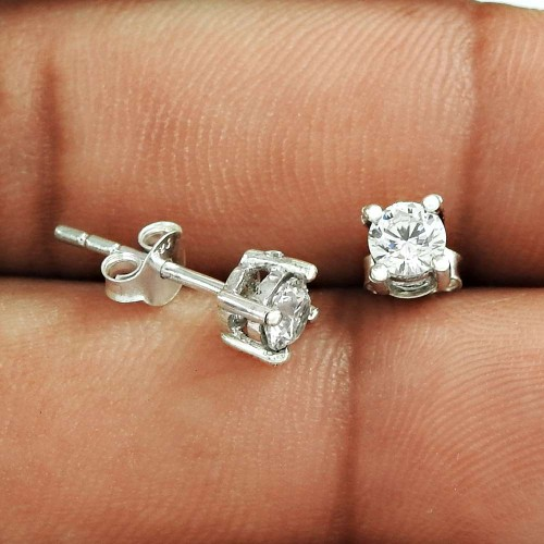 Quality Work !! White CZ Gemstone 925 Sterling Silver Studs Wholesaling