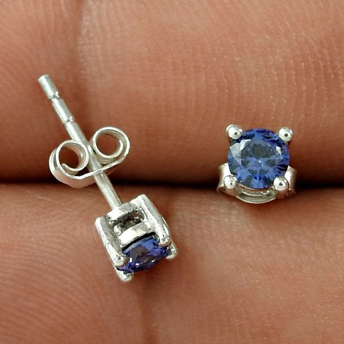 Manufacturer !! Swiss Blue CZ Gemstone 925 Sterling Silver Studs Wholesaling