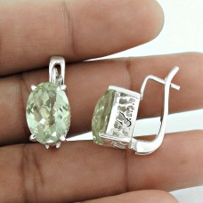 Misty Morning Green Amethyst Gemstone 925 Sterling Silver Earrings Wholesaler