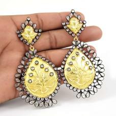 Crystal Earrings !! Gold Plated 925 Sterling Silver Earrings Exporter