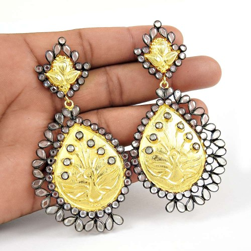 Crystal Earrings !! Gold Plated 925 Sterling Silver Earrings Exporter
