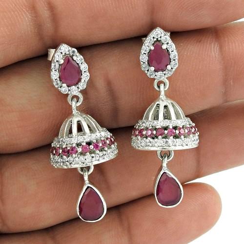 925 sterling silver Jewellery Rare Ruby, White CZ Jhumki Fabricante