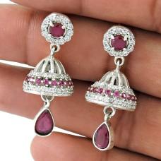 925 gemstone silver Jewellery Designer Ruby, White CZ Jhumki Grossiste