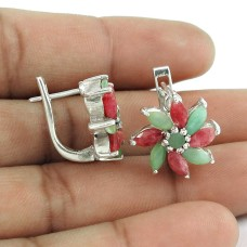 925 Sterling Silver Antique Jewellery Charming Ruby, Emerald Gemstone Stud Earrings Grossiste