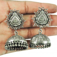 Oxidised Sterling Silver Indian Jewellery Fashion Crystal Jhumka