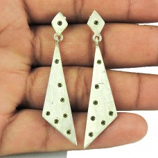 Indian Sterling Silver Jewellery Rare Lemon Quartz Gemstone Drop Earrings Wholesaler India