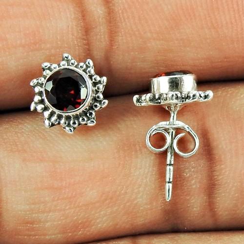 Sterling Silver Fashion Jewellery Beautiful Garnet Gemstone Stud Earrings