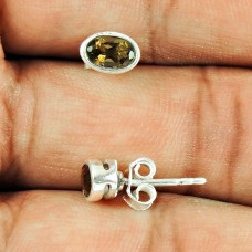 Sterling Silver Jewellery Charming Smoky Quartz Gemstone Stud Earrings