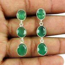 Handmade 925 Sterling Silver Jewellery Personable Green Onyx Gemstone Earrings