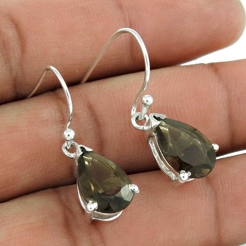 Pleasing 925 Sterling Silver Smoky Quartz Gemstone Earring Jewelry