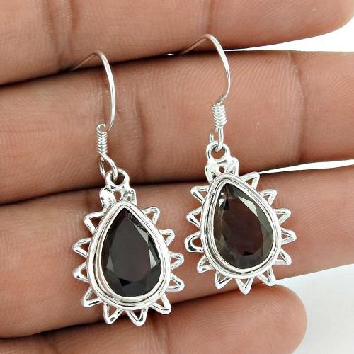 Sightly 925 Sterling Silver Smoky Quartz Gemstone Earring Vintage Jewelry