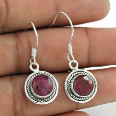 Perfect 925 Sterling Silver Ruby Gemstone Earring Jewelry