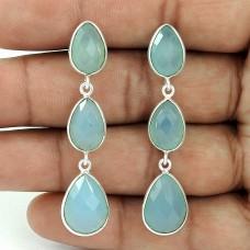 Beautiful 925 Sterling Silver Chalcedony Gemstone Dangle Earring Jewelry