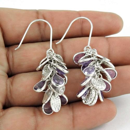 Women Fashion Earring 925 Sterling Silver Amethyst Gemstone Antique Jewelry