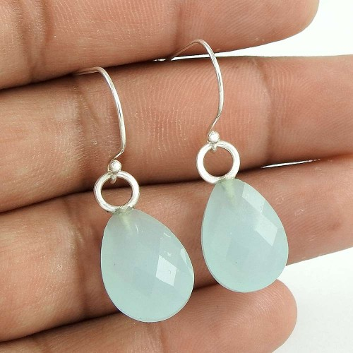 Pretty 925 Sterling Silver Chalcedony Gemstone Earring Jewelry Proveedor