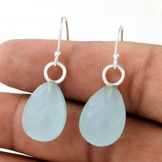 Good-Looking 925 Sterling Silver Chalcedony Gemstone Earring Antique Jewelry