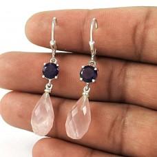 Personable 925 Sterling Silver Amethyst Rose Quartz Gemstone Earring Jewelry