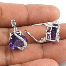 Classic 925 Sterling Silver Amethyst CZ Gemstone Earring Jewelry