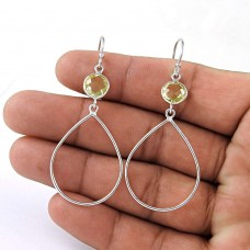 Excellent 925 Sterling Silver Citrine Gemstone Earring Vintage Jewelry Manufacturer