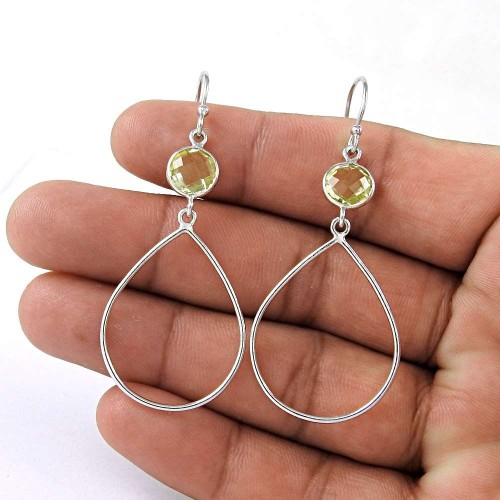 Excellent 925 Sterling Silver Citrine Gemstone Earring Vintage Jewelry Manufacturer