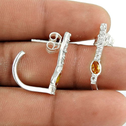 Trendy 925 Sterling Silver Pink CZ White CZ Gemstone Earring Jewelry