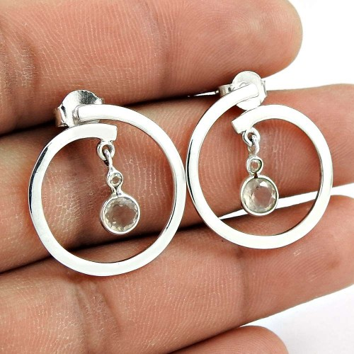 Trendy 925 Sterling Silver Crystal Gemstone Earring Jewelry
