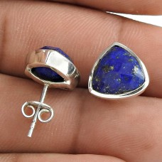 Designer 925 Sterling Silver Lapis Gemstone Stud Earring Traditional Jewelry