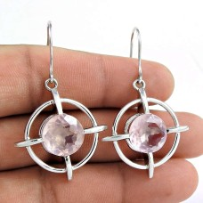 Party Wear 925 Sterling Silver Rose Quartz Gemstone Earring Ethnic Jewelry