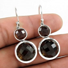 Pretty 925 Sterling Silver Smoky Quartz Gemstone Earring Jewelry Al por mayor