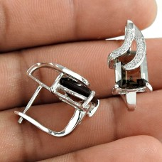 Beautiful 925 Sterling Silver Smoky Quartz Gemstone Earring Jewelry Mayorista