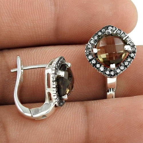 Daily Wear 925 Sterling Silver Smoky Quartz CZ Gemstone Earring Jewelry