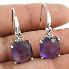 Rare 925 Sterling Silver Amethyst CZ Gemstone Earring Ethnic Jewelry