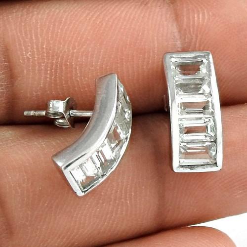 Latest Trend 925 Sterling Silver Crystal Gemstone Earring Vintage Jewelry