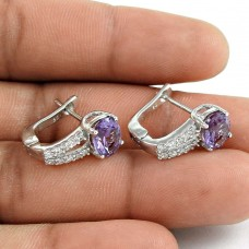 Fashion 925 Sterling Silver Amethyst CZ Gemstone Earring Antique Jewelry