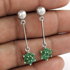 925 Sterling Silver Emerald Gemstone Victorian Dangle Earrings