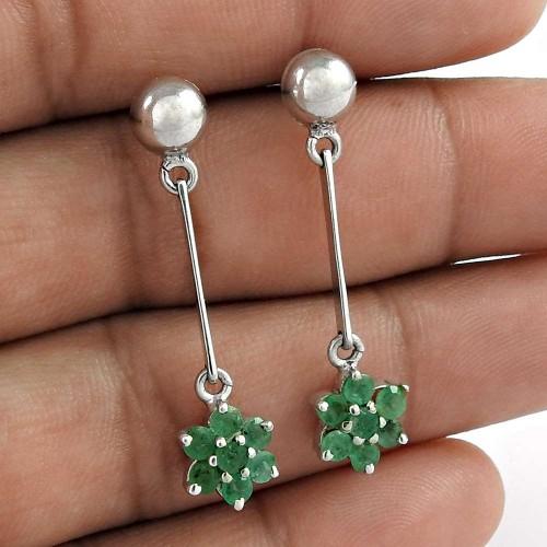 925 Sterling Silver Emerald Gemstone Victorian Dangle Earrings