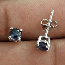 925 Sterling Silver Blue Sapphire Gemstone Studs For Daily Wear
