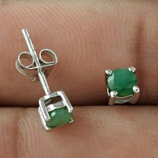 Easy Style 925 Sterling Silver Emerald Gemstone Prong Set Stud Earring