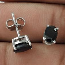 Momentous Jewelry 925 Sterling Silver Blue Sapphire Gemstone Stud Earrings