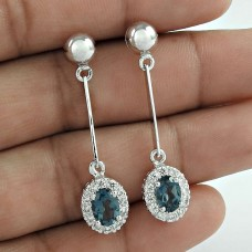 Leading Designs Rhodium Plated 925 Sterling Silver Blue Sapphire With CZ Gemstone Dangle Earrings